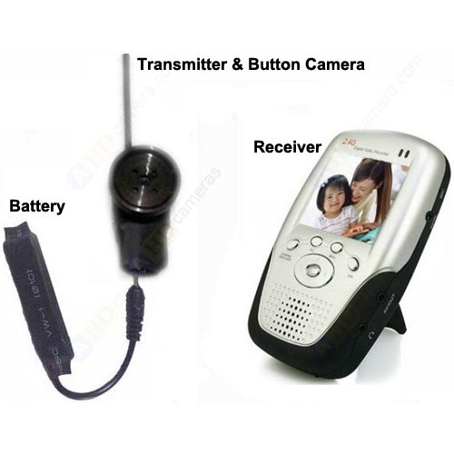 2 Mega Pixel Micro Wireless Button Camera & Receiver