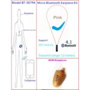 Pink Necklace Invisable Micro Bluetooth Earpiece Kit With A680 Micro Earpiece,Bluetooth 4.1 Neck Loop Invisable Earpiece
