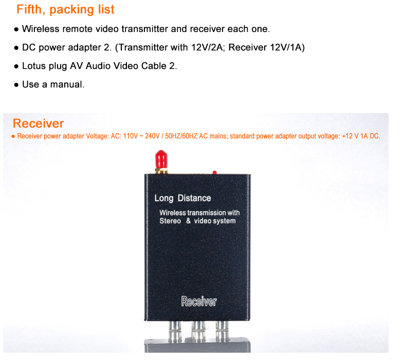 2.4G 3W Wireless Monitoring Wireless Audio Video Transmission