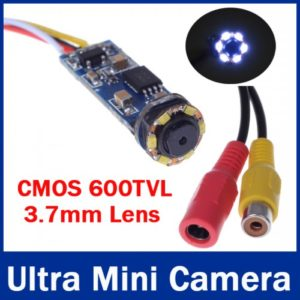 CMOS 600TVL Super Mini Wired Camera Cute Ultra Mini Camera CCTV Camera With 6pcs LEDs Night Vision For 1.2G /2.4G Wireless