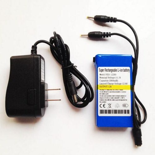 DC 12V 3000mah li-ion rechargeable battery with dual output 2.5*0.7mm for Lan router,Set-top boxes