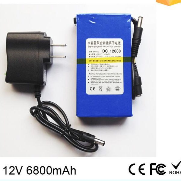 battery manufacturer DC-12680 6800mAh rechargeable dc 12V li-ion polymer battery