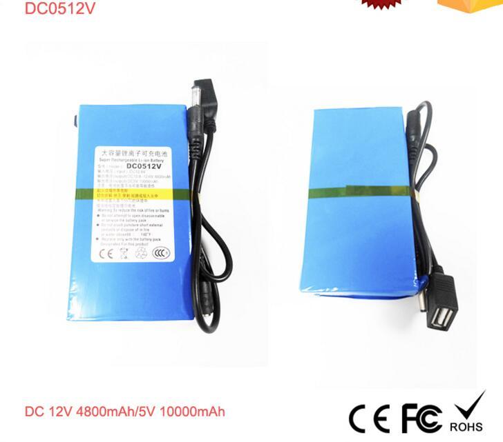 Rechargeable 12V lithium Li-polymer battery for CCTV Camera 4800mah 12V/5V 10Ah