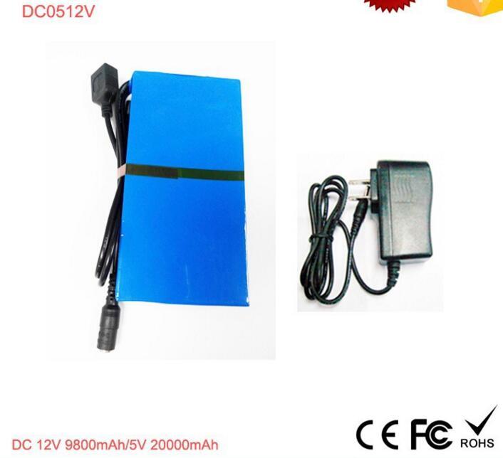 Super portable rechargeable 10.8v lithium battery pack for LED light 9800mah/5V 20000mah