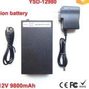YSD-12980 black 9800mAh rechargeable 12V super portable Li-ion battery