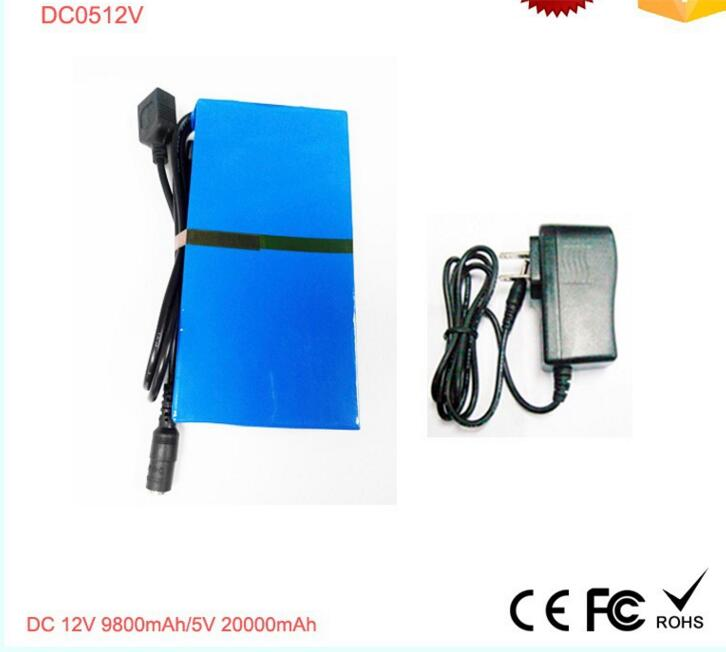 12v rechargeable li-ion battery with lithium battery charger for LED light 9800mah/5V 20000mah