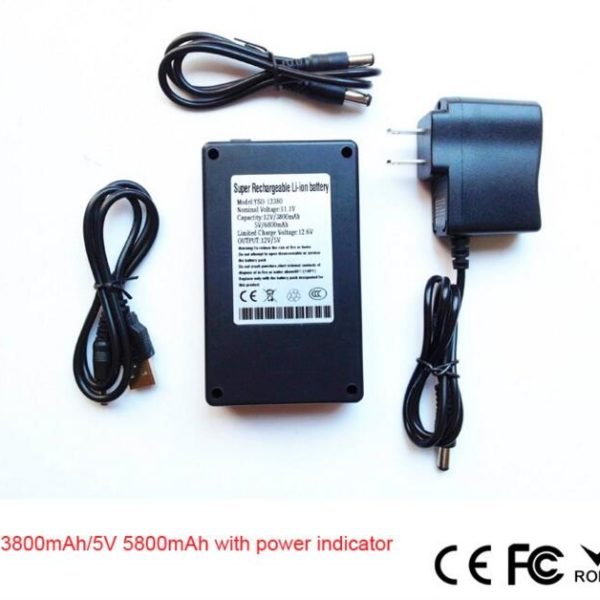 Rechargeable lithium battery 12v 3800mah/5V 5800mah li-ion battery pack