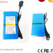 12V 6800mAh/5V 13000mAh Li-ion Super Rechargeable Battery Pack