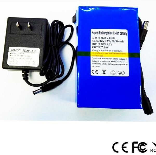 Rechargeable China li-ion 3ah 24v battery pack
