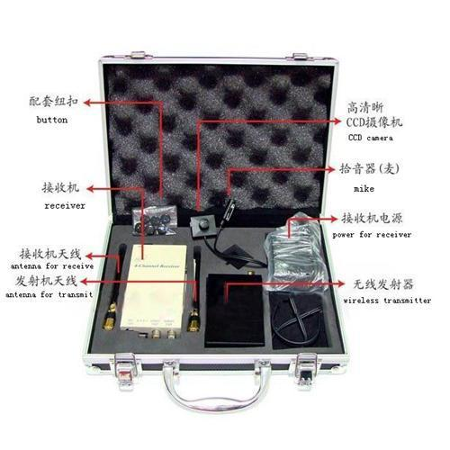 Wireless Button Camera 700mw video transmitter and receiver rechargable with tool box