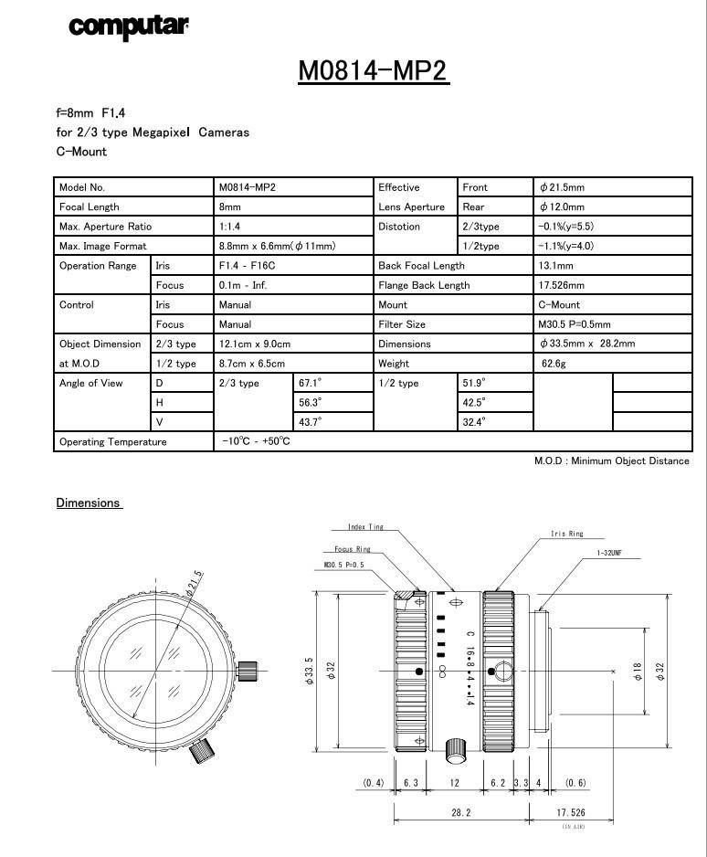 """M0814-MP Computar 2/3"""" C Mount 8mm f/1.4 Lens for Megapixel Camera"""