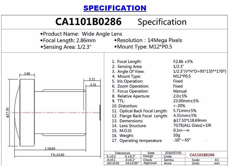 M12 Sport DV Lens 1/2.3 inch f2.0 14mp Lens 2.86mm for SJCAM or Gopro
