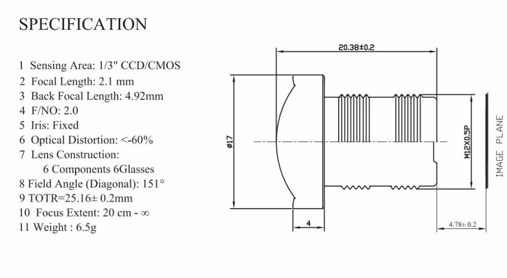 Image Format 1/3 inch Mount TypeS-Mount (M12x0.5) Focal Length 2.1 mm MTV board lens