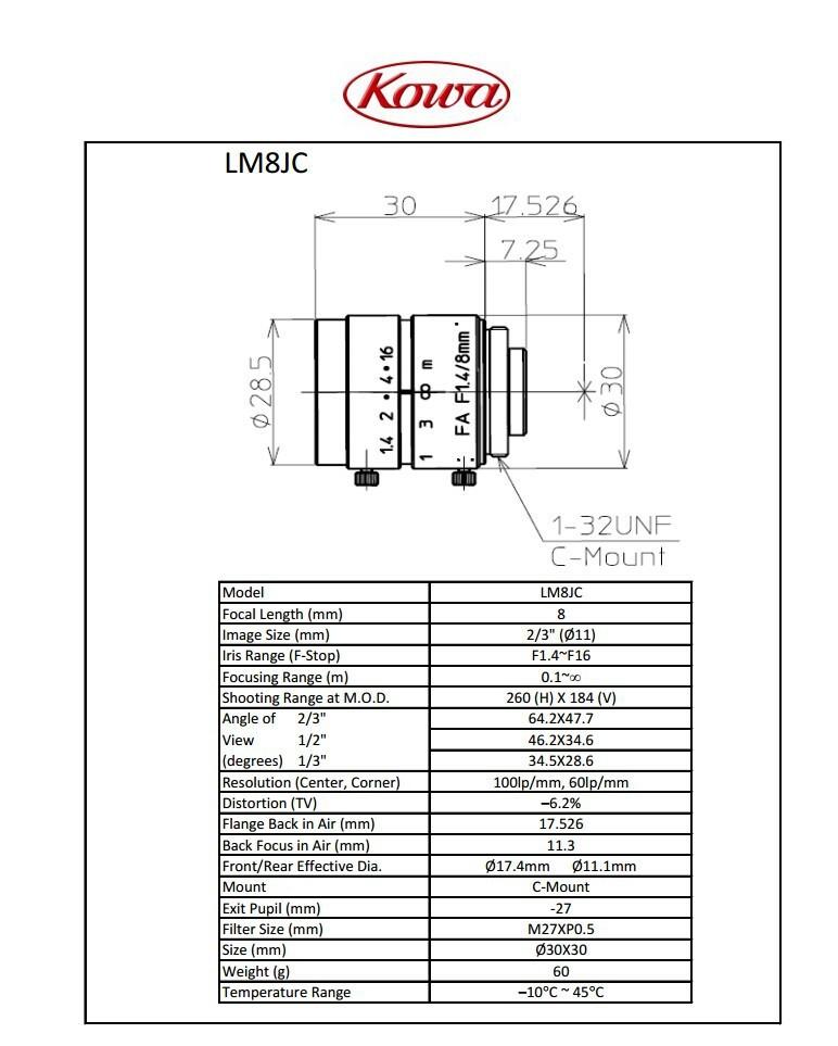 "KOWA LM8JC 2/3"" 8MM F1.4 MANUAL IRIS C-MOUNT LENS"