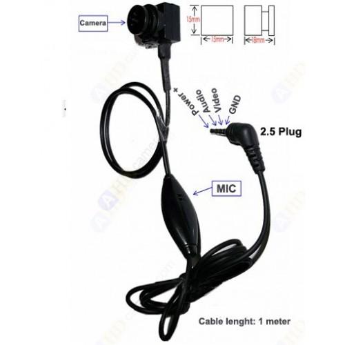 2.5 Plug 4pin CCD Micro Button Camera - 600TVL