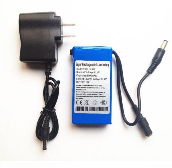 3000mAh DC 12V Rechargeable Li-ion battery