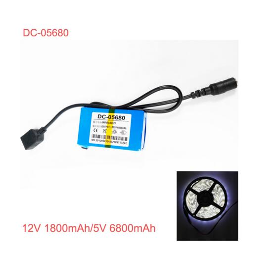rechargeable 5v li ion polymer battery with 12V output,USB 5V output dc-05680